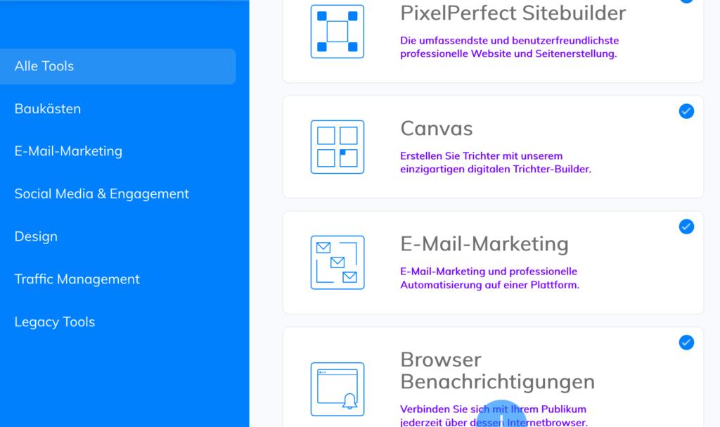 Die neue Builderall 3.0 Oberfläche ist auch für Anfänger sehr simpel nutzbar.