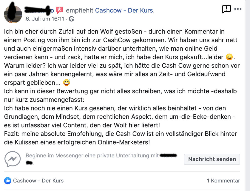 Facebook Cashcow Affiliate Marketing Erfahrungen