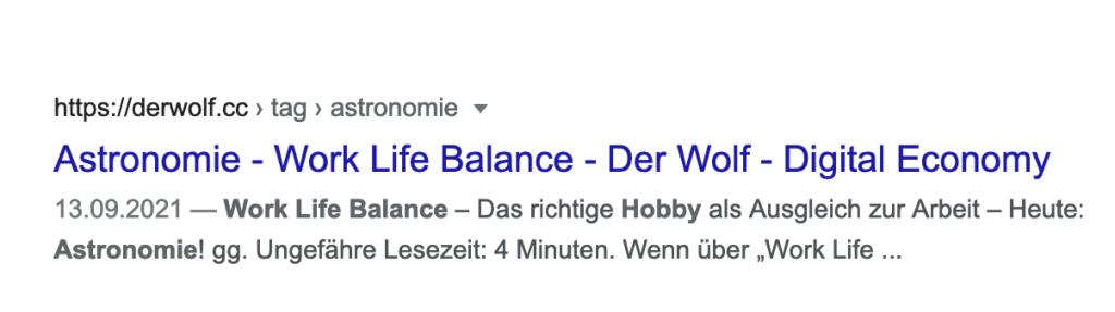 """Title Tag zu meinem letzten Artikel über die """"Work Life Balance""""."""